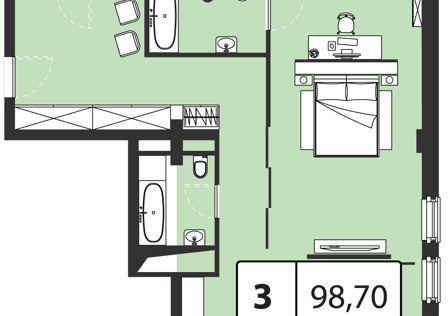 Продаётся 3-комнатная квартира, 98.7 м²