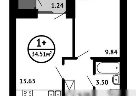 Продаётся 2-комнатная квартира, 34.51 м²