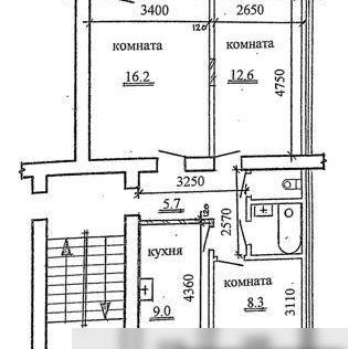 Продаётся 3-комнатная квартира, 55.5 м²