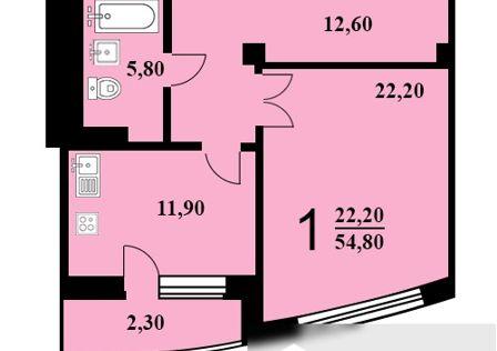 Продаётся 1-комнатная квартира, 54.8 м²