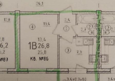 Продаётся 1-комнатная квартира, 26.8 м²