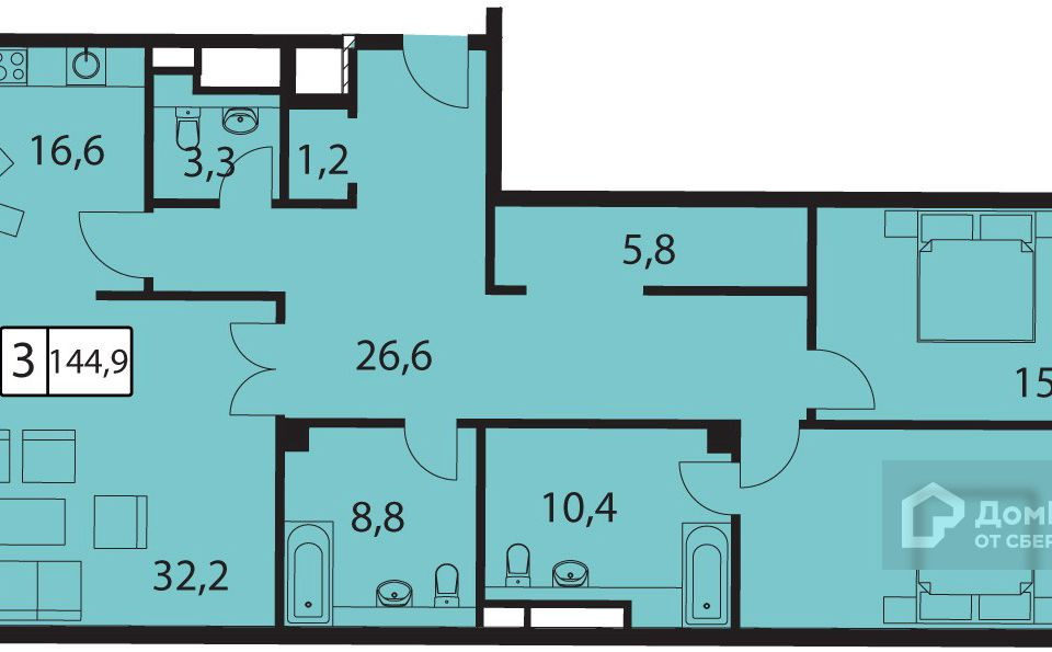 Продаётся 3-комнатная квартира, 145.9 м²