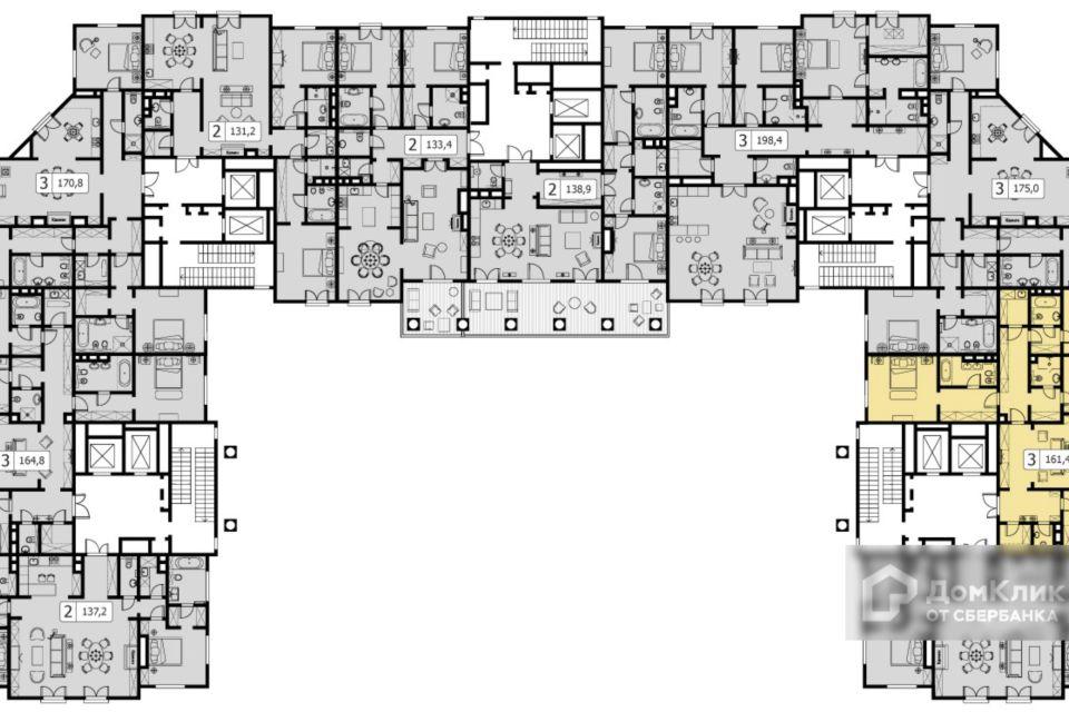 Продаётся 3-комнатная квартира, 161.3 м²