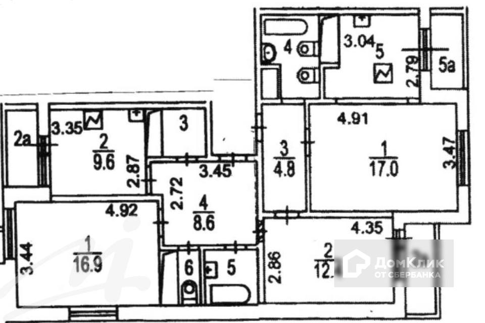 Продаётся 4-комнатная квартира, 93.1 м²